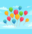 balloons flying in sky among clouds colorful vector image vector image
