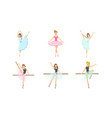 beautiful ballerinas posing and dancing set vector image