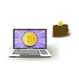 bitcoin concept - golden coin wallet and laptop vector image