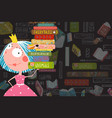 books and reading kid girl fairy tale princess vector image