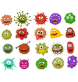 Cartoon bacteria collection set vector image