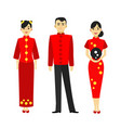 cartoon color characters people chinese man and vector image vector image