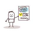 cartoon smiling man showing a valid passport