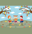 cheerful children friends sitting on bench in vector image vector image