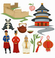 china symbols culture and architecture food and vector image vector image