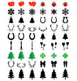 christmas icons collection vector image vector image