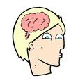 comic cartoon head with brain symbol vector image vector image