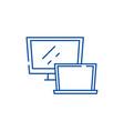 computer monitor line icon concept computer vector image