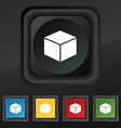 cube icon symbol Set of five colorful stylish vector image vector image