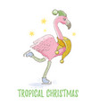 cute christmas exotic animal art flamingo vector image vector image