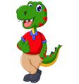 cute dinosaur cartoon thumb up vector image vector image