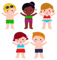 Cute Summer Kids in swimsuit set isolated on white vector image vector image