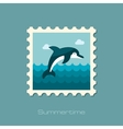Dolphin stamp Summer Vacation vector image vector image