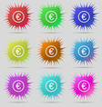 Euro icon sign A set of nine original needle vector image vector image
