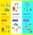 families spending free time 3d banner vecrtical vector image vector image