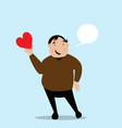 fat man holds heart in his hand vector image