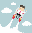 Flying businessman with jetpack vector image vector image
