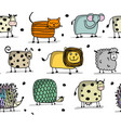 funny animals seamless pattern for your design vector image vector image