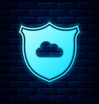 glowing neon cloud and shield icon isolated on vector image vector image