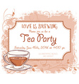 hand drawn tea party invitation card vintage frame vector image