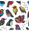 hand drawn tropical bird pattern vector image vector image