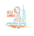 hello summer seaside background happy girl listen vector image vector image