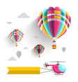 hot air balloons and helicopter on sky isolated vector image vector image