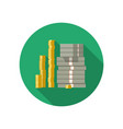 icon dollars and coins vector image vector image