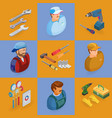 isometric interior repairs icons set worker vector image vector image