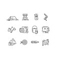 line icons set of hiking tourism camping vector image