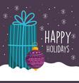 merry christmas celebration gift box and ball vector image vector image