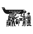 migrant people on plane icon simple style vector image