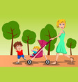 mother walking with her kids vector image