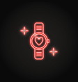 neon smart watch icon with a heart in line style vector image vector image