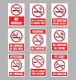 no smoking signboard set smoking is prohibited vector image vector image