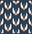 owl in christmas costume seamless pattern vector image vector image