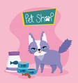 pet shop funny cat with package food fish can and vector image vector image