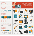 Photography infographics set with photo camera vector image vector image