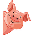 pig peeking out from the left vector image vector image