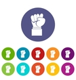 Raised up clenched male fist set icons vector image
