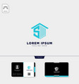real estate logo template and free business card vector image vector image