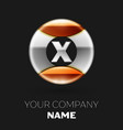 realistic silver letter x logo in the circle shape vector image