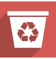 Recycle Bin Flat Longshadow Square Icon vector image