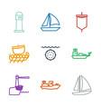 sailing icons vector image vector image