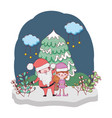 santa claus with tree and helper in the snowscape vector image