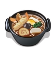 Seafood soup in black plate icon food for design vector image vector image