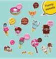 set funny sweets cartoon face food emoji vector image