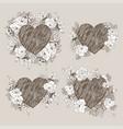 set of floral design frame with big heart vector image vector image