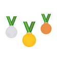 set of winner medals brazil vector image