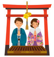 shrine visit on japanese new year vector image vector image